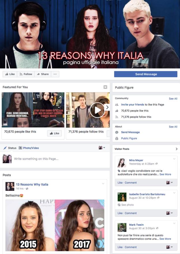 Snapshot Facebook 13 Reasons Why Italia